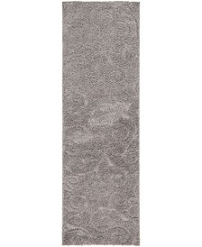 "Malloway Shag Mal1 Dark Gray 2' x 6' 7"" Runner Area Rug"