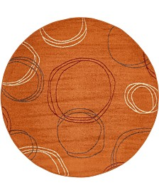 Bridgeport Home Jasia Jas05 Terracotta 8' x 8' Round Area Rug