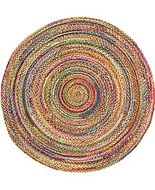 Roari Cotton Braids Rcb1 Multi 8' x 8' Round Area Rug