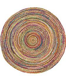 Bridgeport Home Roari Cotton Braids Rcb1 Multi 8' x 8' Round Area Rug