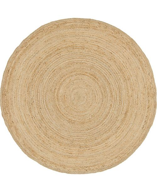 Bridgeport Home Braided Jute C Bjc5 Natural 8' x 8' Round Area Rug