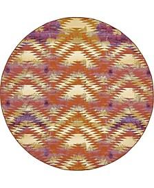 Pashio Pas2 Red 8' x 8' Round Area Rug