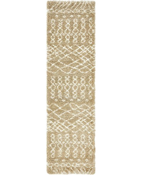 "Bridgeport Home Fazil Shag Faz2 Tan 2' 7"" x 10' Runner Area Rug"