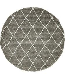 Fazil Shag Faz3 Gray 8' x 8' Round Area Rug