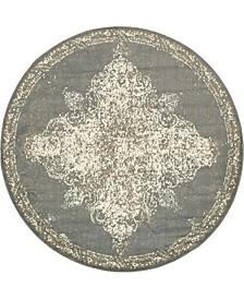Tabert Tab7 Gray 8' x 8' Round Area Rug