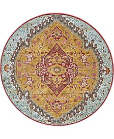 "Kenna Ken1 Gold 5' 5"" x 5' 5"" Round Area Rug"