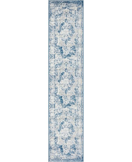 "Bridgeport Home Basha Bas2 Blue 2' x 9' 10"" Runner Area Rug"