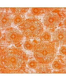 Bridgeport Home Basha Bas7 Orange 8' x 8' Square Area Rug
