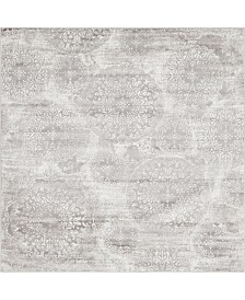 Bridgeport Home Basha Bas7 Light Gray 8' x 8' Square Area Rug