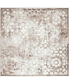 Bridgeport Home Basha Bas5 Brown 6' x 6' Square Area Rug