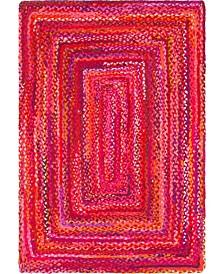 Bridgeport Home Roari Cotton Braids Rcb1 Red 4' x 6' Area Rug