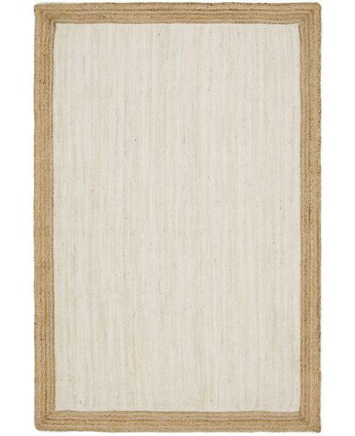 Bridgeport Home Braided Jute A Bja4 White 6' x 9' Area Rug