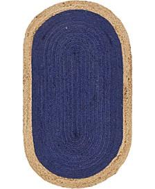 "Braided Jute A Bja4 Navy Blue 3' 3"" x 5' Oval Area Rug"