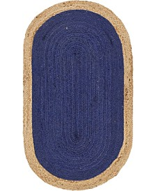 "Bridgeport Home Braided Jute A Bja4 Navy Blue 3' 3"" x 5' Oval Area Rug"
