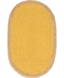 Bridgeport Home Braided Jute A Bja4 Yellow 5' x 8' Oval Area Rug