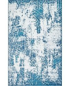 """Bridgeport Home Basha Bas6 Blue 3' 3"""" x 5' 3"""" Area Rug"""