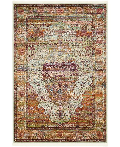 "Bridgeport Home Kenna Ken6 Ivory 4' 3"" x 6' Area Rug"