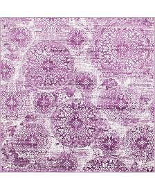 Bridgeport Home Basha Bas7 Purple 8' x 8' Square Area Rug