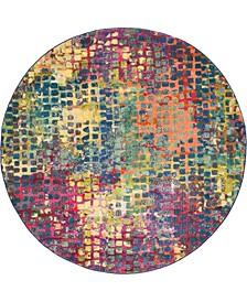Crisanta Crs4 Multi/Blue 6' x 6' Round Area Rug