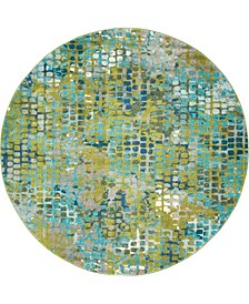 Crisanta Crs4 Green 8' x 8' Round Area Rug