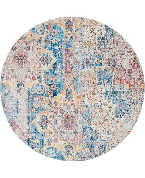 Bridgeport Home Nira Nir3 Blue 8' x 8' Round Area Rug