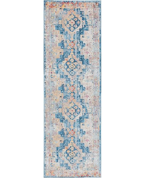 "Bridgeport Home Nira Nir5 Blue 2' 7"" x 8' 2"" Runner Area Rug"