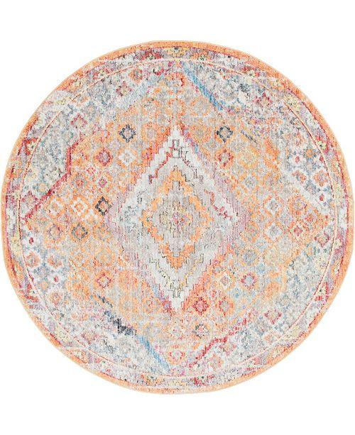 Bridgeport Home Zilla Zil1 Orange 6' x 6' Round Area Rug