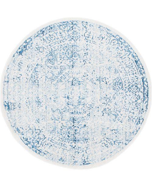"""Bridgeport Home Zilla Zil3 Light Blue 3' 3"""" x 3' 3"""" Round Area Rug"""