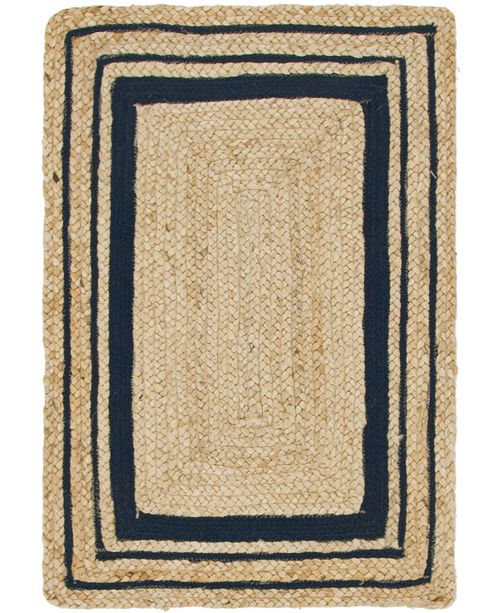 Bridgeport Home Braided Border Brb1 Natural/Navy 2' x 3' Area Rug