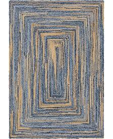 Bridgeport Home Roari Braided Chindi Rbc1 Blue/Natural 6' x 9' Area Rug