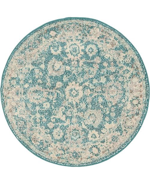 "Bridgeport Home Lorem Lor3 Turquoise 3' 3"" x 3' 3"" Round Area Rug"