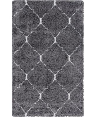 Fazil Shag Faz5 Gray 5' x 8' Area Rug
