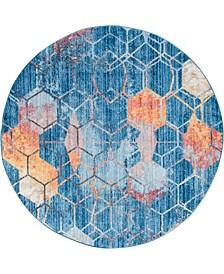 Prizem Shag Prz1 Blue 6' x 6' Round Area Rug