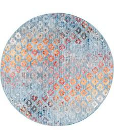 Prizem Shag Prz2 Blue 6' x 6' Round Area Rug