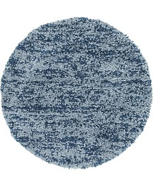 "Bridgeport Home Lochcort Shag Loc3 Blue 3' 3"" x 3' 3"" Round Area Rug"