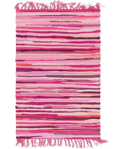 "Bridgeport Home Jari Striped Jar1 Pink 2' 2"" x 3' Area Rug"