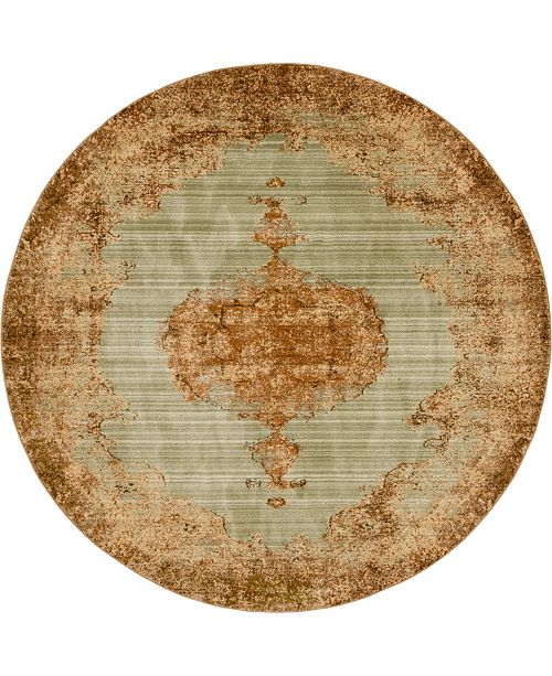 Bridgeport Home Thule Thu2 Light Green 8' x 8' Round Area Rug