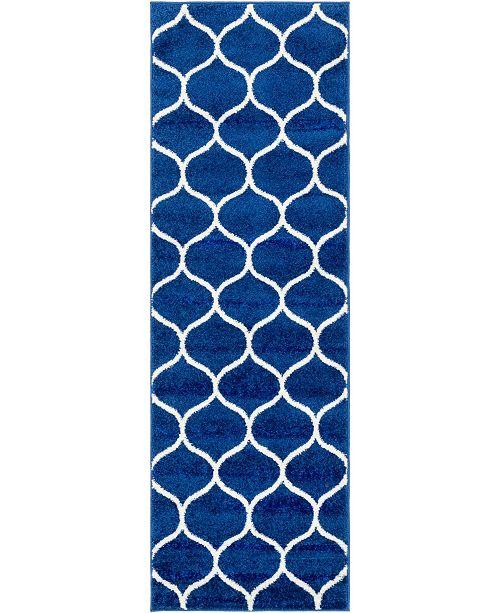 Bridgeport Home Plexity Plx2 Navy Blue 2' x 6' Runner Area Rug