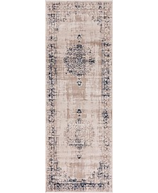 "Bridgeport Home Anika Ani1 Tan/Navy 2' 2"" x 6' Runner Area Rug"