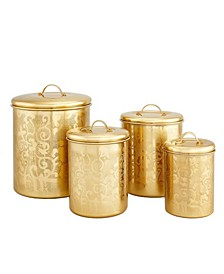 "International ""Avignon Champagne Tone Etched Canister Set, 4 Piece"