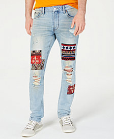GUESS Men's Patched Skinny Jeans
