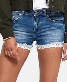 Lace-Hem Denim Shorts