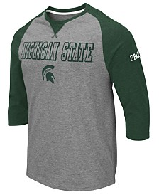 Colosseum Men's Michigan State Spartans Team Patch Three-Quarter Sleeve Raglan T-Shirt