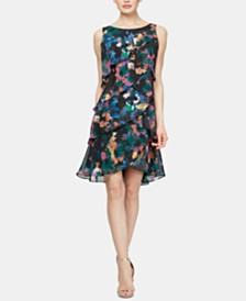 SL Fashions Floral-Print Tiered Shift Dress