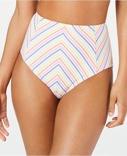 kate spade new york Beach Stripe Printed High-Waist Bikini Bottoms