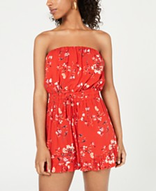 City Studios Juniors' Strapless Printed Romper