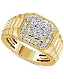 Men's Diamond Cluster Ring (1/2 ct. t.w.) in 10k Gold