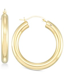 Diamond Accent Round Hoop Earrings in 14k Gold Over Resin, Created for Macy's