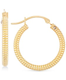 Diamond Accent Ribbed Hoop Earrings in 14k Gold over Resin, Created for Macy's