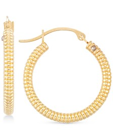 Signature Gold™ Diamond Accent Ribbed Hoop Earrings in 14k Gold over Resin, Created for Macy's
